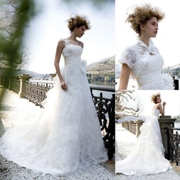 Wholesale New Collection Lace Wedding Dresses Strapless Chapel Train Empire Waist Appliques Custom Made Bridal Gown with Jacket