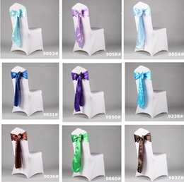 Wholesale Colorful Cheap Wedding Supplies Events Party Wedding Party Banquet Blue Satin Ribbon Sash Handmade Bow For Chair Covers CM CM