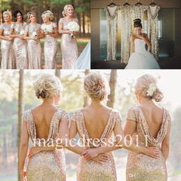 Wholesale Sparkly Rose Gold Cheap Mermaid Bridesmaid Dresses Short Sleeve Sequins Backless Floor Length Beach Wedding Gown Light Gold Champagne