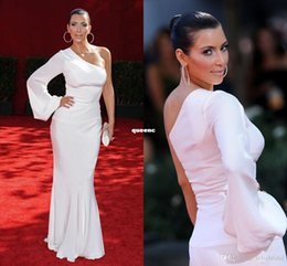 Wholesale Kim Kardashian Dress One Shoulder Mermaid White Prom Dresses Floor length Elegant Imitation Celebrity Evening Dresses