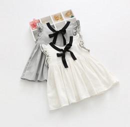 Wholesale 2016 New Kids Korean Dress Children Clothing Bow Lace Dress Girl Summer Short Sleeve Pincess Casual Fashion Dress C7B78