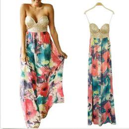 Wholesale Vestidos Summer Autumn Women s BOHO Sequin Strapless Floral Print Maxi dress Beach Dress Size S L