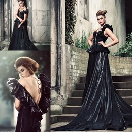 Wholesale 2015 Hot Sell Sexy Evening Dress Zipper Capped Sleeveless V Neck Backless Floor Length A Line Dress Chinese Vintage Prom Evening Dresses