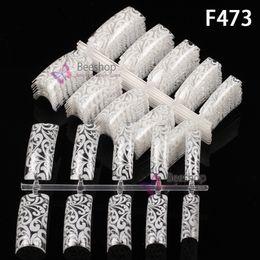 Wholesale 100pcs Beauty Fake Nail New Fashion Nail Art Printing Pattern Nail Tips With Flowers Pattern UV Coating Hot selling In Nail Care Shops F473