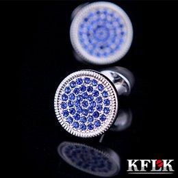 Wholesale Cufflinks Men Jewelry New Shirt Cufflink For Men Gift Brand Cuff Button Blue Crystal Cuff Link High Quality silk knots cufflinks