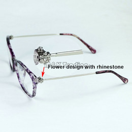 2017 new fashion optical frame rhinestones flower on slim metal temples women eyeglasses frame very light 5 colors