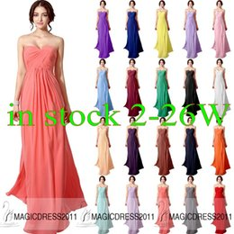 Wholesale 2015 Cheap Coral Bridesmaid Dresses IN STOCK Navy Blue Lilac Red Mint Orange Chiffon Maid of Honor Dress A Line Sweetheart Long Formal Dress