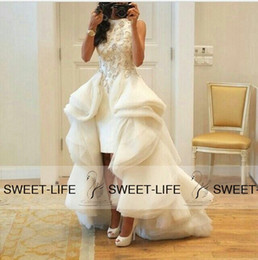 Wholesale 2015 White Arabic Evening Dresses Bateau High Front and Long Back Pearls Ruffled Cap Sleeve Celebrity Prom Formal Dress Gowns for Pageant