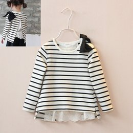 Wholesale 2016 Spring Kids Girls Stripe Lace Panelled T shirts Baby Girl Cotton Bow Shirt Babies Princess Bowknot Jumper Tops Children s Clothing