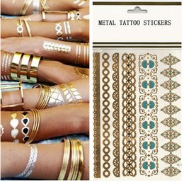 Wholesale 2015 top selling gold foil tattoo Temporary Metallic Tattoos Like Flash Tats Sheet