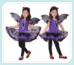 Wholesale hot sale new arrival Party Costume for Girl Children Dance Costumes for Kids Purple Bat Halloween Chrismas Costume Fancy dress