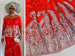 Wholesale Red Silver beads and sequins Silky George fabric African George lace fabric Nigeria Wedding Apparel