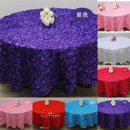 Wholesale Purple Pink D Rose Flowers Table Cloth for Wedding Party Decorations Cake Tablecloth Round Rectangle Table Decor Runner Skirts Carpet Cheap