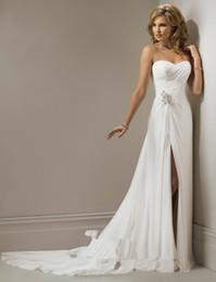 Wholesale Chiffon Wedding Dress Vestido De Noiva Sweetheart A Line Beading Waist Front Split Wedding Dress With Pleat Train Plus Size