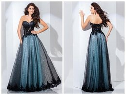 Wholesale Black Aqua A Line Prom Pageant Dresses Sweetheart Sleeveless Lace Appliques Sequins Zipper Back Fomal Evening Gowns Floor Length
