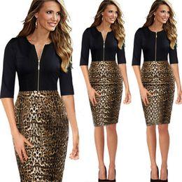 Wholesale 2014 New Women Summer Casual Dress Zipper Fashion Leopard Patchwork Slim OL Party Dresses Work Clothes