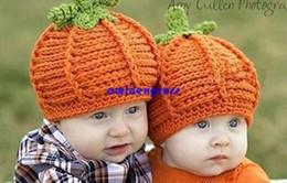 Wholesale Lindo Pumkin bebé sombreros gorras de Bebés de invierno sombreros del Ganchillo Gorro hecho a Mano Sombrero de los niños niño niña de la fotografía props regalo