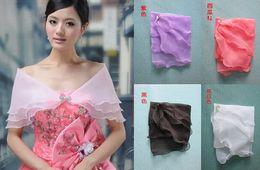 Wholesale Top Quality Three Layer Organza Beaded Elegant Evening Wedding Shwal Shrug Wrap Jacket Coat WH051021