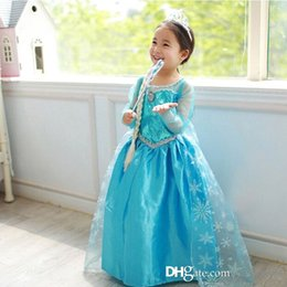 Wholesale New Children Frozen Dress Costumes Long Sleeve Princess Elsa Party Wear Clothing for Halloween Christmas Gift Kids Cosplay Clothes