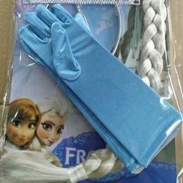 Wholesale Fronzen princess elsa long blue gloves frozen costume gloves kids costume gloves hot sell pairs ds47