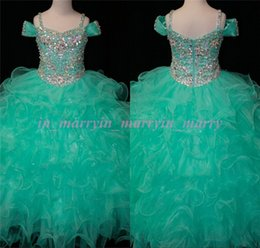Wholesale Real Images Mint Green Girls Pageant Dresses Size Ball Gown Beaded Crystal Princess Pageant Dresses For Teens For Little Toddler
