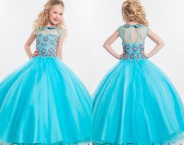 Wholesale 2016 New Blue Ball Gown Kids Girls Pageant Gowns High Neck Bead Sparkle Princess Dresses For Little Girls Birthday Party