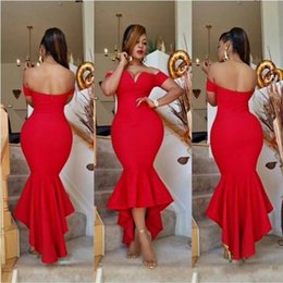 Wholesale 2016 Dubai Red Mermaid Cocktail Party Dresses Sexy Off Shouler Long Prom Dresses Cheap Hi Lo African Arabic Women Plus Size Gowns