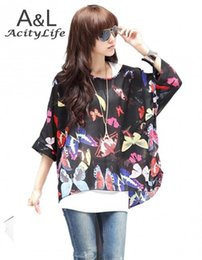 Wholesale Spring Women s Sexy Batwing Dolman Sleeve Chiffon Shirt Bohemian Tops Oversized Blouse Colors