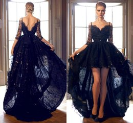 Dark Navy High Low Prom Dresses Spaghetti Lace Low Back Meia Luva Sexy Bling Sequins Partido Vestidos Evening Wear Sweep Train 2016