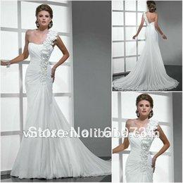 Wholesale W0226 New Flowers One Shoulder Chiffon Beach Wedding Dress