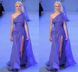 Wholesale 2016 Valentino Elie Saab Evening Dresses One Shoulder Purple Side Split Sweep Train Ruffles Sash Bow Party Pageant Dresses Gown Formal Gowns