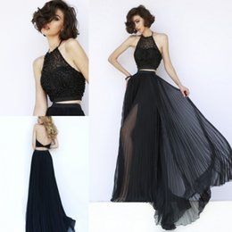 Wholesale Two Piece Prom Gowns Black Halter A line Beaded Backless Chiffon in Prom Evening Party Dresses Gowns Custom Made