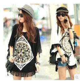 Wholesale Fashion woman dress bat wing designer lady Summer T shirts long loose tops oversized tees blouses