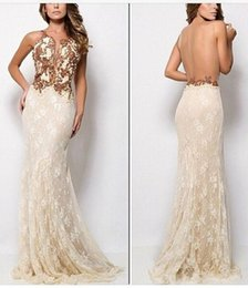 Wholesale 2015 Zuhair Murad Arabic Evening Dress With Lace Covered Sheer Backless Gold Appliques Mermaid Fashion Prom Pageant Dress Sweep Train