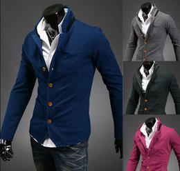 Wholesale New Fashion Men Casual Slim Stand Collar Buckles Suits Coat Jackets DH