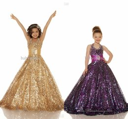 Wholesale 2015 Sexy Cheap Gold Purple Organza Beaded Halter Ball Gown Girl s Pageant Dresses Shiny Sequins Flower Girl Dresses Kids Formal Wear S