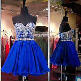 Wholesale Crystal Royal Blue Homecoming Dresses Sweetheart Neck Lace up Corset Ruffles Ball Gown Short Prom Dresses Party Cocktail Dress