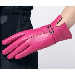 Wholesale Winter Fashion100 Genuine Leather natrual Sheepskin Women Gloves Warm Fleece Gloves Motorcycle Cycling Leather Gloves for Women