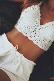 Wholesale Hot Venda Handmade tecido top de biquini crochet Sexy halter crochet bikini strapless swimwear algodão branco tricotado colheita Top zy