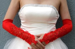 Wholesale Red White Luxury Lace Beads Short Bridal Gloves Cotton Cheap Sexy In Stock Low Price Bridal Accessories