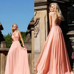 Wholesale Sexy A Line Party Dresses with Sheer Crew Neck Short Sleeve Backless Hollow Crystal Chiffon Long Wedding Prom Evening Dress Formal Gown