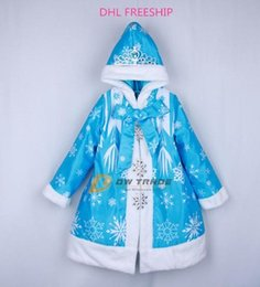 Wholesale DHL freeship Girls frozen medium style coat kids girl Elsa long sleeve warm thickened blue princess coats with Bowknot baby hood