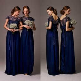 Wholesale 2015 Hot Sale Cap Sleeves Navy Blue Lace Bridesmaid Dresses Sheer Backless With Bow Beach Plus Size Evening Gowns Party Homecoming BO4880