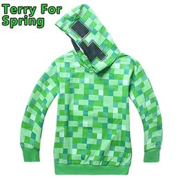Wholesale Cartoon Children Minecraft Hoodies Creeper Face Sweatshirts Baby Boy Clothes Jacket Christmas Autumn Spring Kids Boys Clothing Free UPS