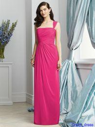 Wholesale Ruffle Fuchsia One Shoulder Chiffon A Line Bridesmaids Dresses Long DESSY Cheap Vestidos de novia Evening Gown High Quality Simple