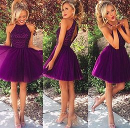 Wholesale Purple Short Dress with Beaded Top Cute and Flirty Homecoming Dress High Neck A line Special Occasion Gown