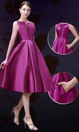 Wholesale From Top Celebrity Designers Sexy Deep V Neck Taffeta A line Knee Length Purple Party Dresses Fine Workmanship