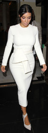 Wholesale 2016 New White Kim Kardashian Red Carpet Celebrity Dresses Long Sleeve Tea Length Sexy Evening Gowns Elegant Prom Dress Party Dress Vestidos