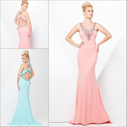 Wholesale 2015 Sexy V neck Sleeveless Long Evening Party Dresses Satin Beaded Mermaid Sweep Train Open Back Fashion Girls Prom Dress Gowns Custom Made