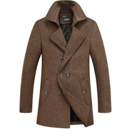 Discount Mens Brown Pea Coat | 2017 Mens Brown Wool Pea Coat on